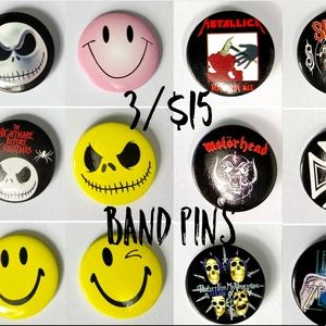 3/$15 or 6 for $25 retro band pins!